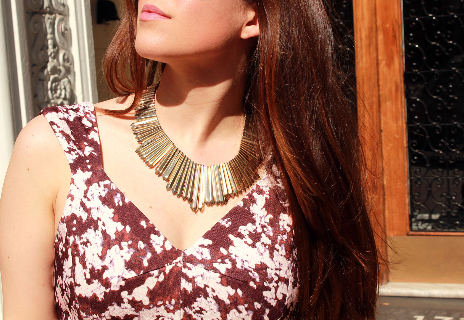 long hair styles, belle noel, gold necklace, kim kardashian necklace, mcginn dress