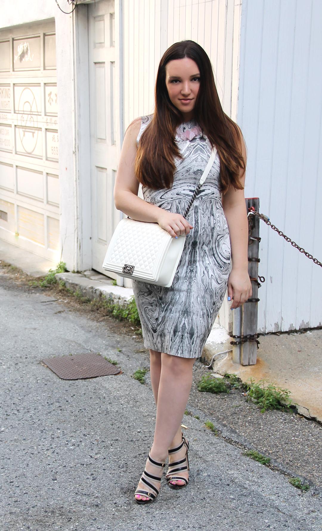 marble print dress