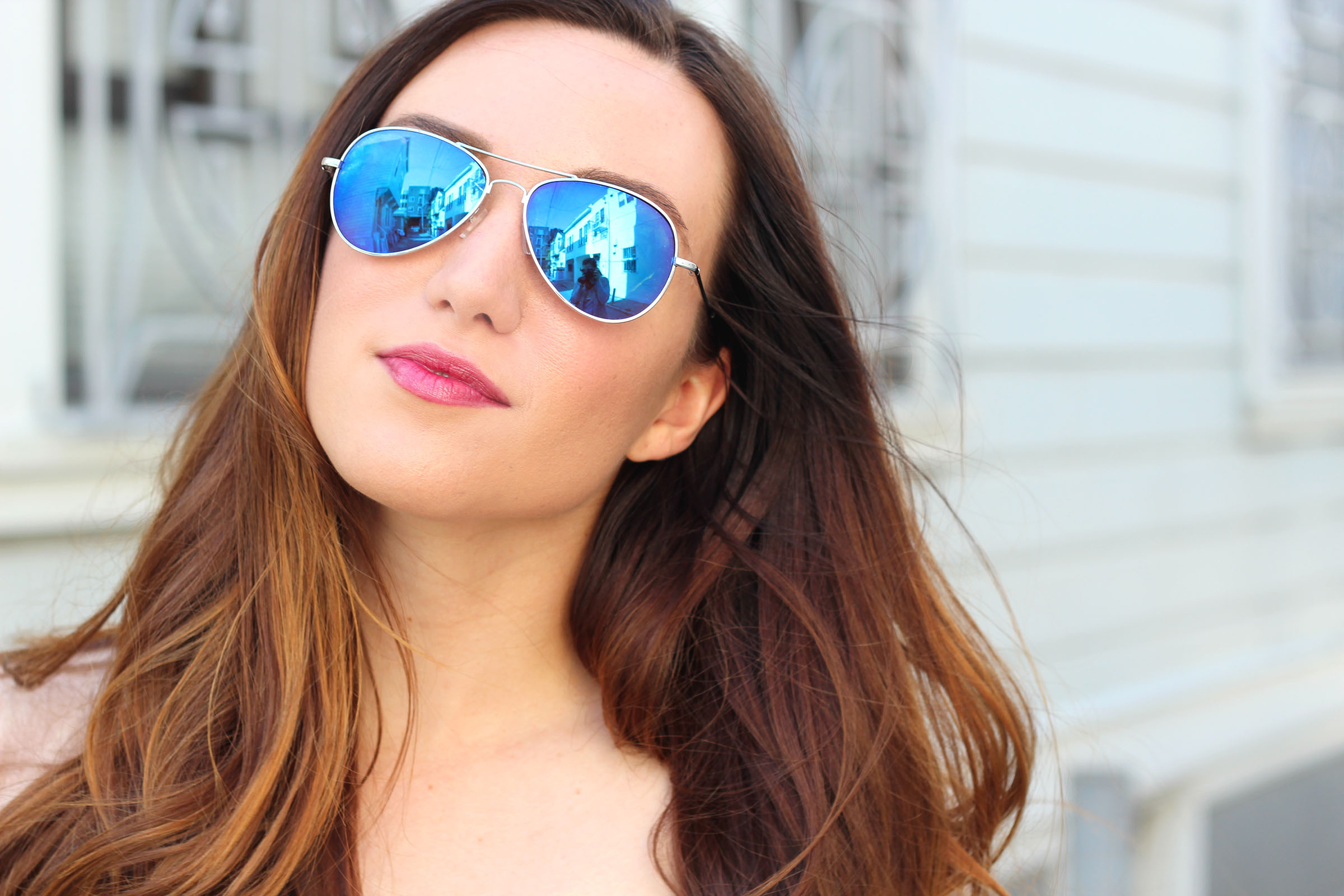 blue mirrored aviators featured by top San Francisco fashion blog, Just Add Glam