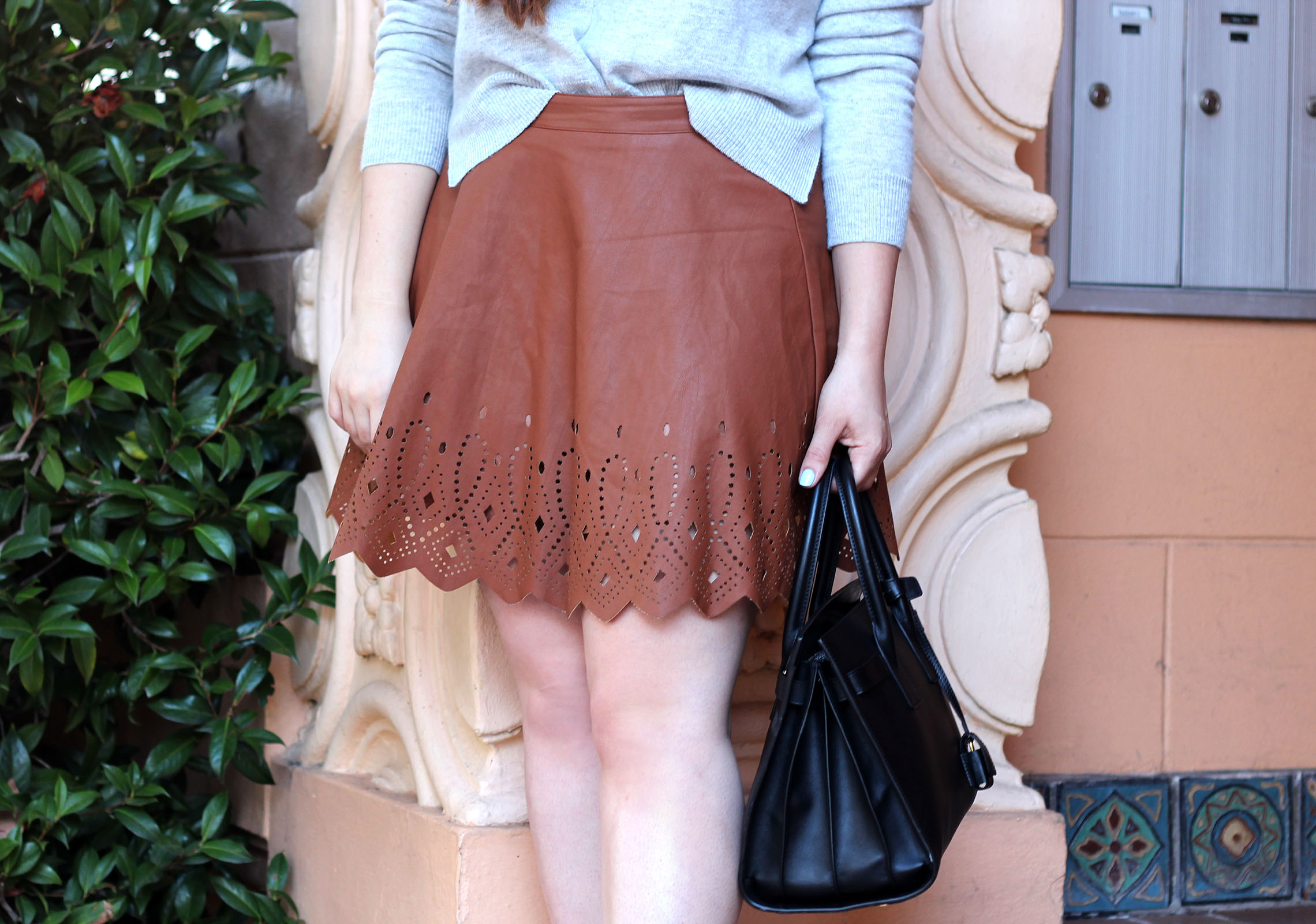 cutout leather skirt