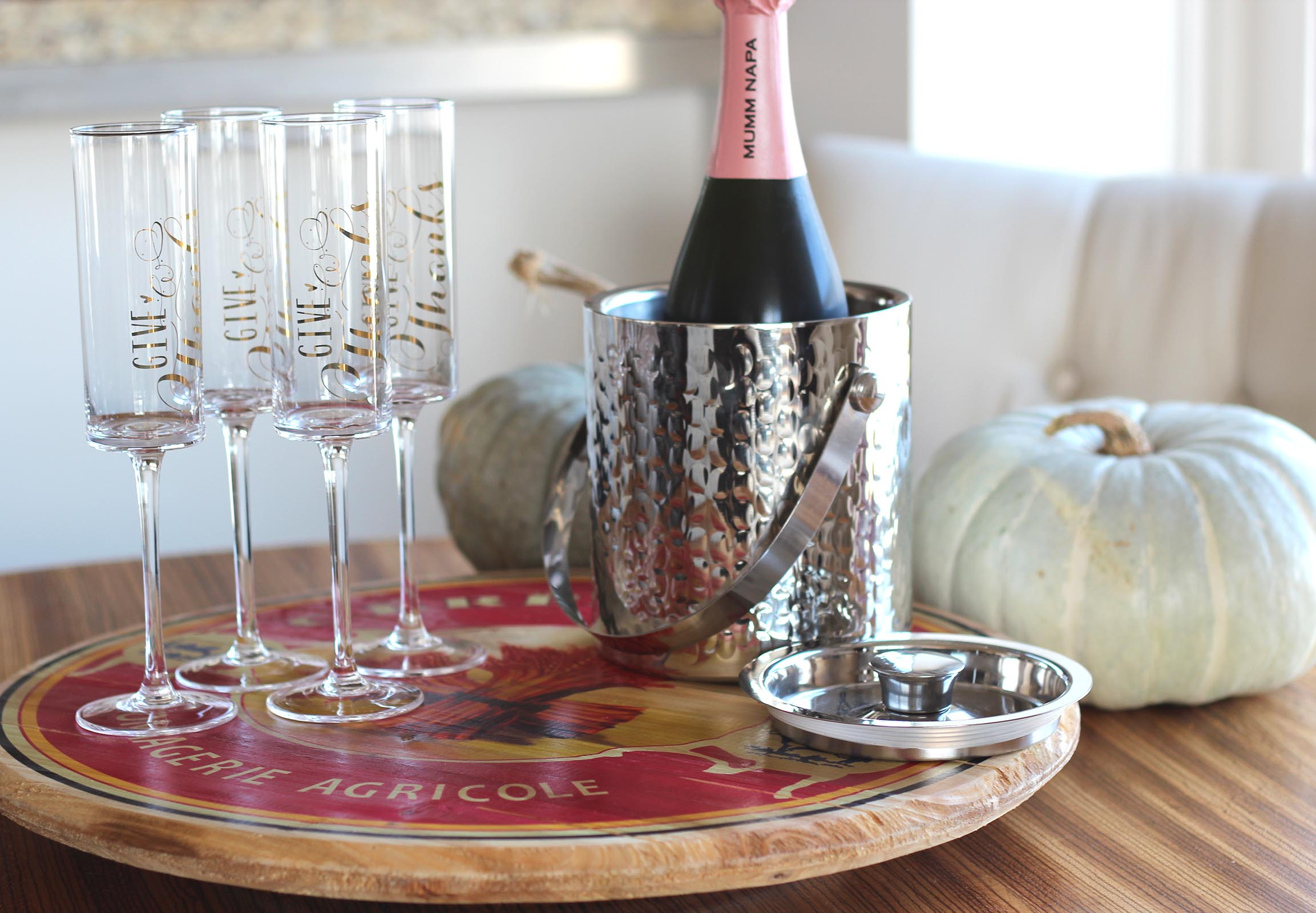 thanksgiving champagne flutes