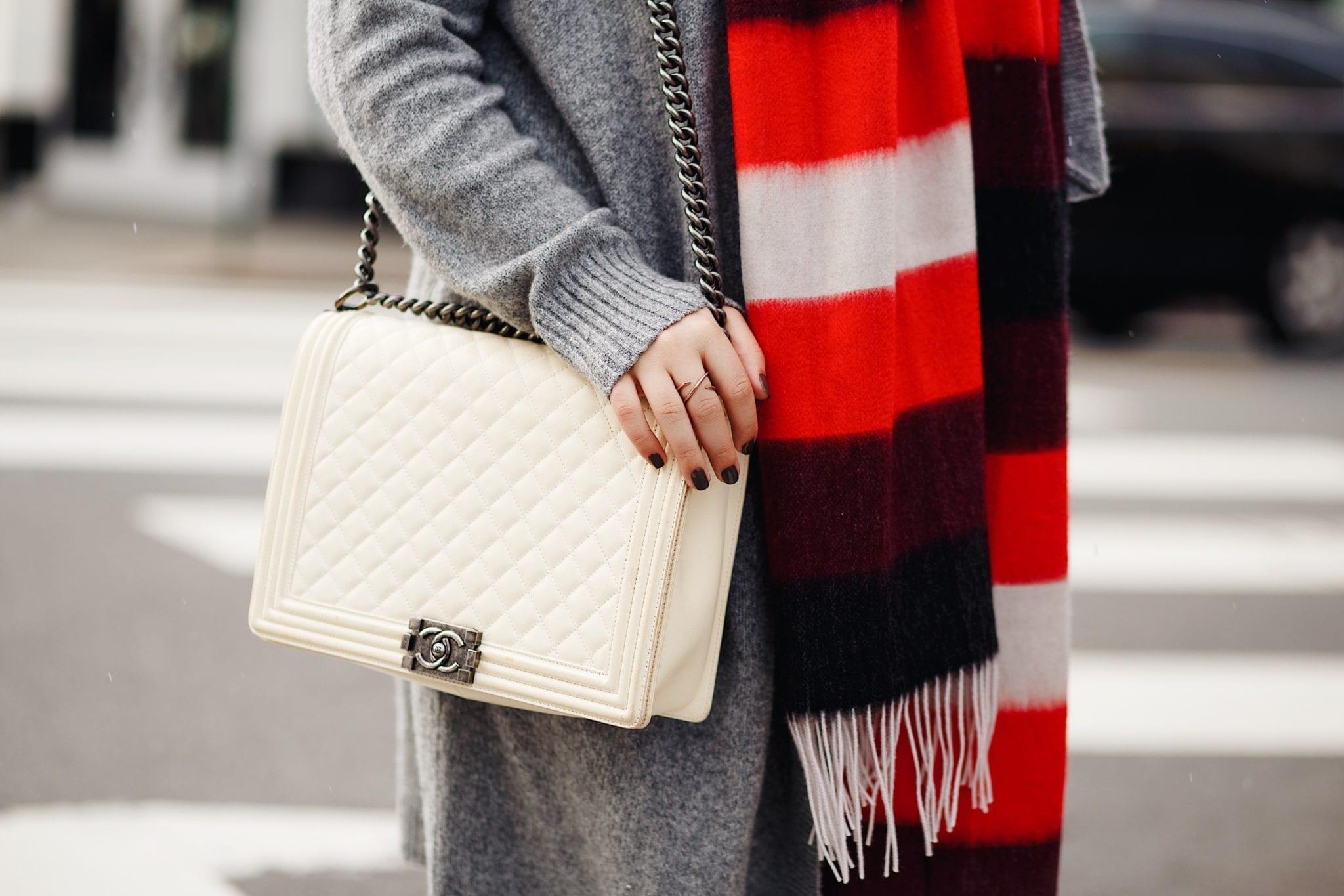 white chanel boy bag blogger