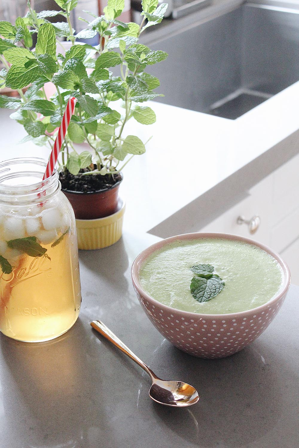 Avocado soup and mint green tea, the perfect post workout treat, featured by popular San Francisco lifestyle blogger, Just Add Glam