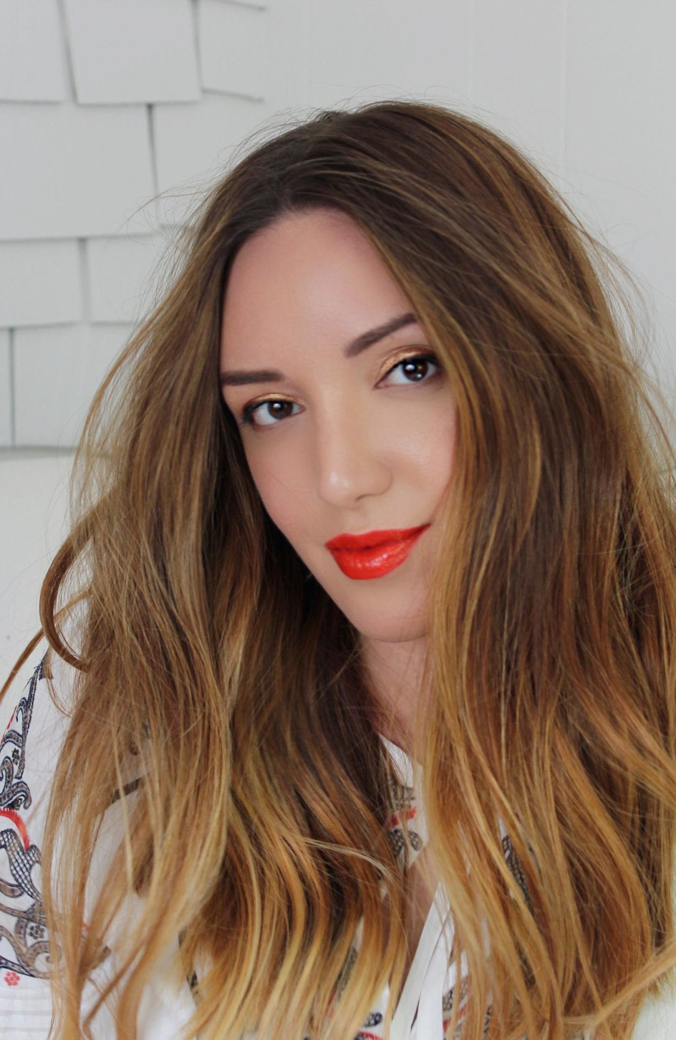 Ulta Beauty | Golden eyes makeup and coral lip tutorial featured by top San Francisco beauty blog, Just Add Glam