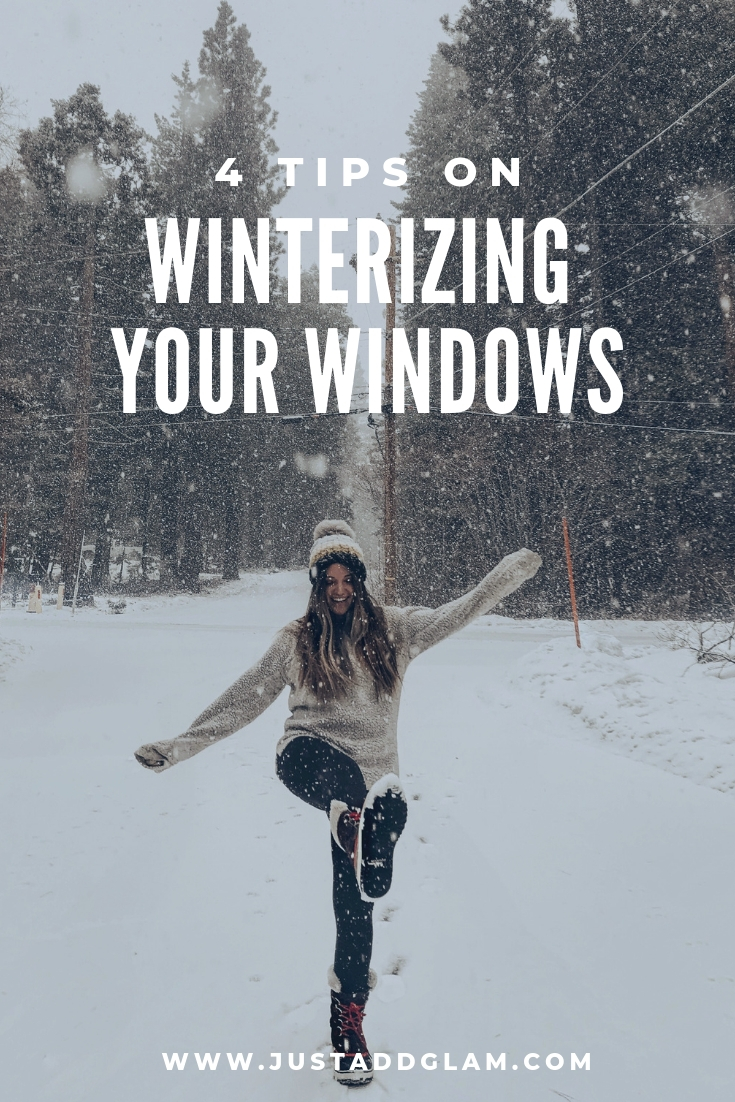 How To Winterize Windows featured by top US lifestyle blog Just Add Glam; Image of a woman playing in the snow.