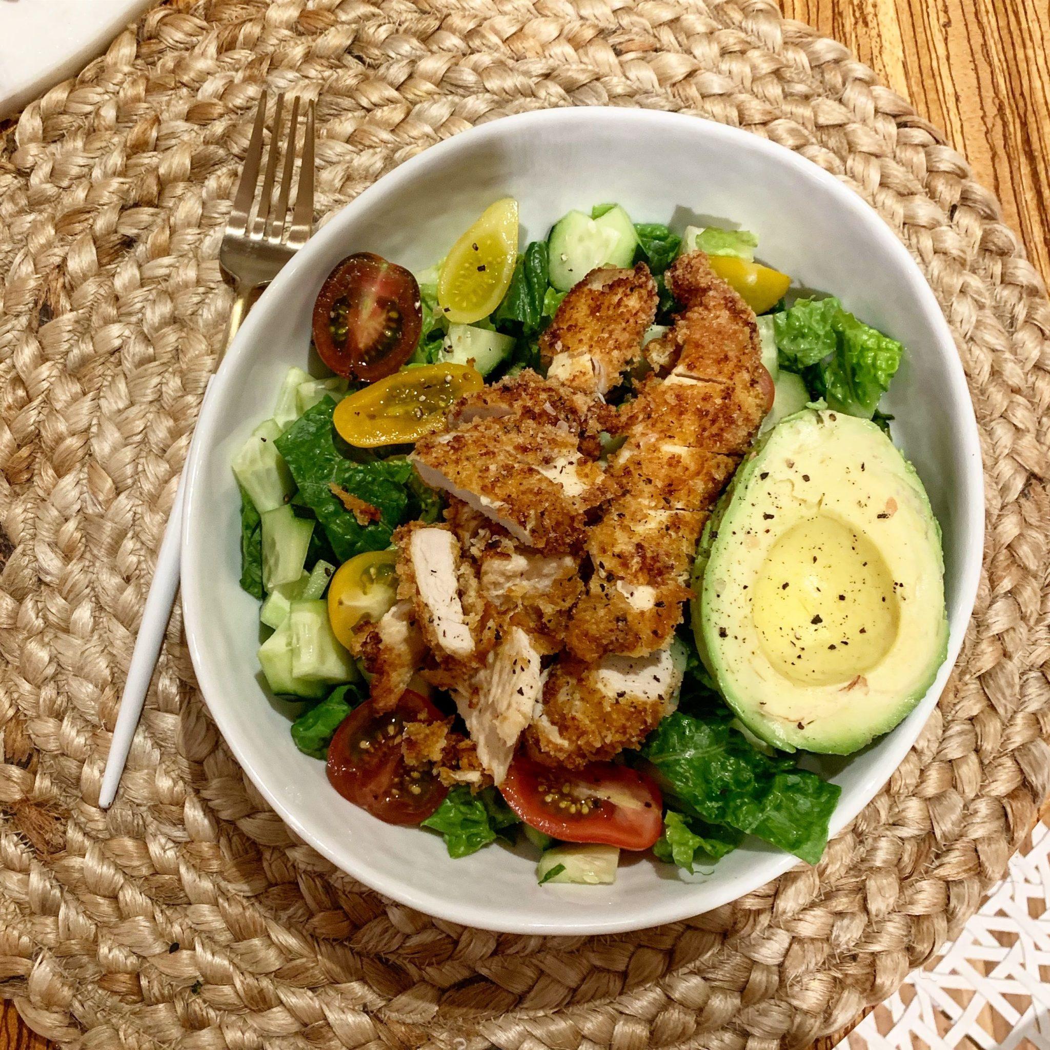 Keto Fried Chicken Avocado Salad