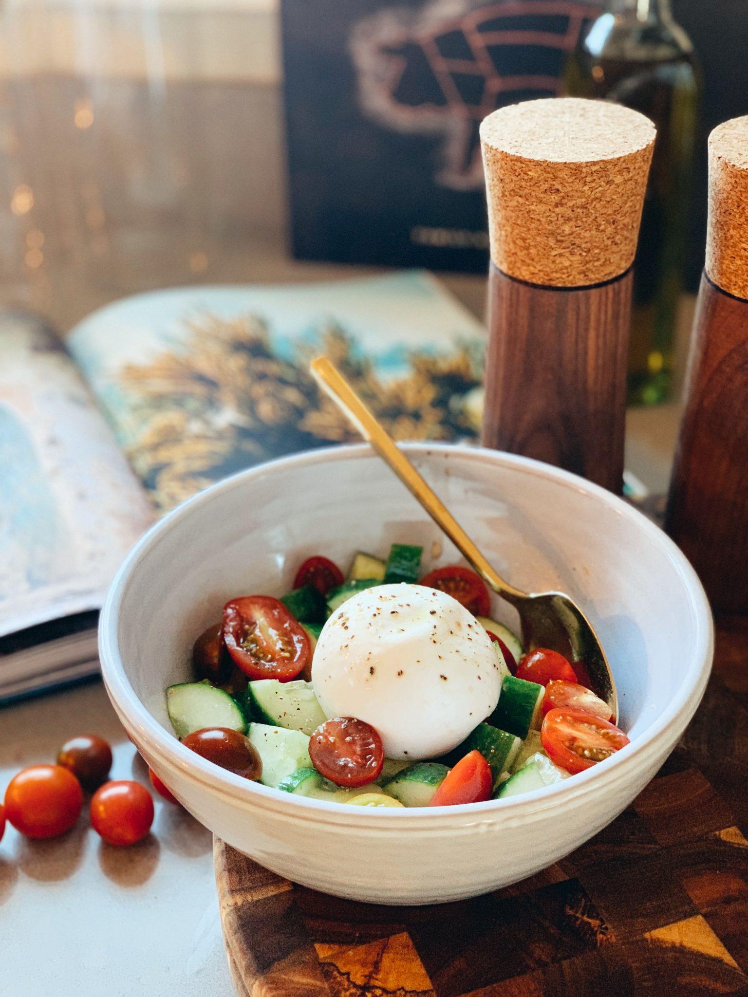 Keto Friendly Salads: Fresh Cucumber Tomato Burrata Salad Recipe