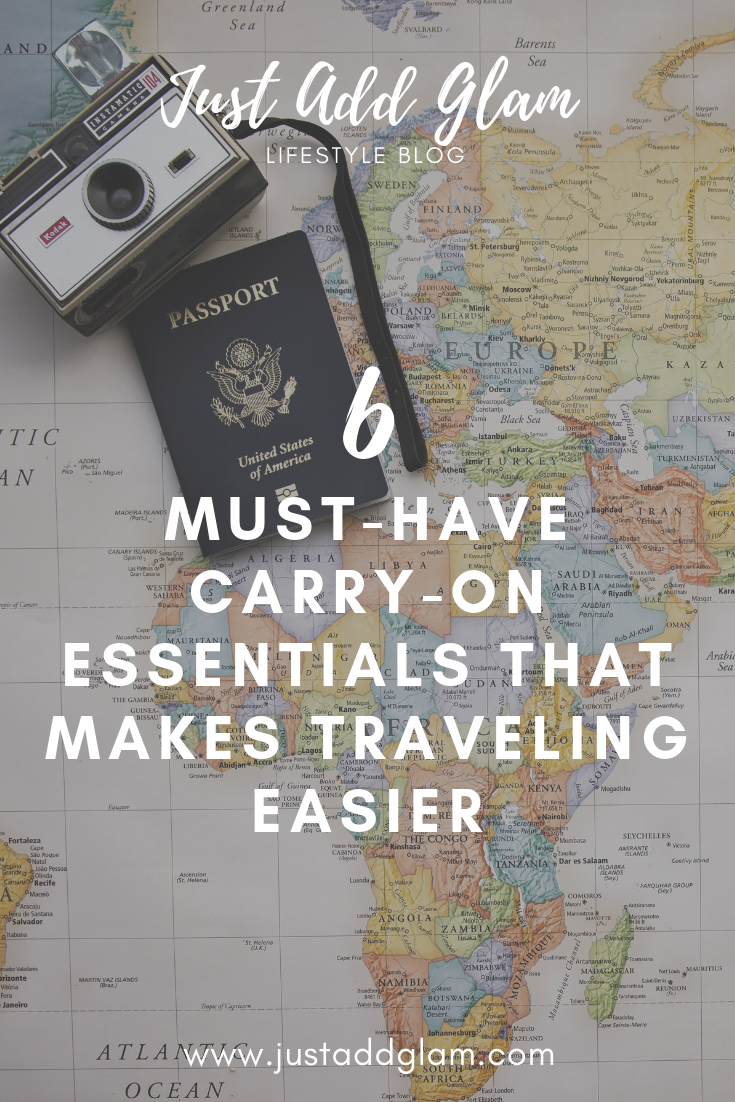 6 Must-Have Carry-On Essentials That Makes Traveling Easier I travel I travel essentials I lifestyle blog I via justaddglam.com | 6 Must-Have Carry-On Essentials That Makes Traveling Easier by popular San Francisco travel blog, Just Add Glam: image of a vintage camera and a passport resting on top of a world map.