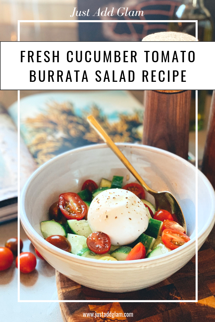 Fresh Cucumber Tomato Burrata Salad Recipe I Keto Recipe I Kept Cooking I Summer Recipe I via justaddglam.com| Fresh Cucumber Tomato Burrata Salad Recipe--Keto Friendly! by popular life and style blog, Just Add Glam: image of some burrata salad in a white ceramic bowl with a gold spoon with a text overlay.