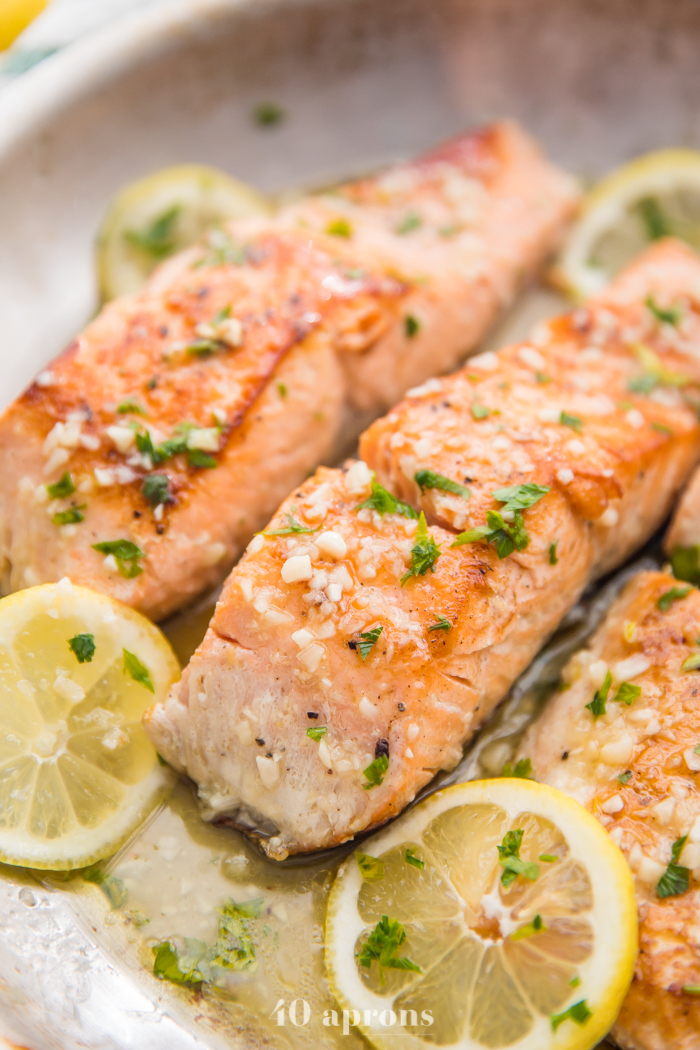 Keto Thanksgiving Recipes featured by top US lifestyle blog, Just Add Glam: lemon garlic salmon