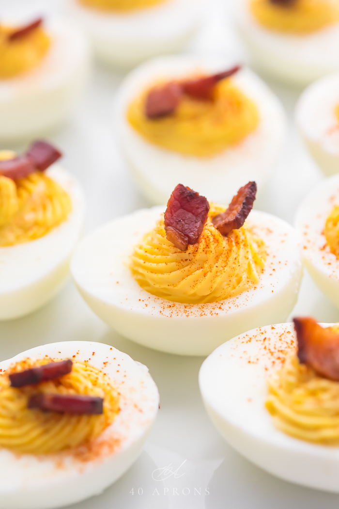 Keto Thanksgiving Recipes featured by top US lifestyle blog, Just Add Glam: deviled eggs with bacon