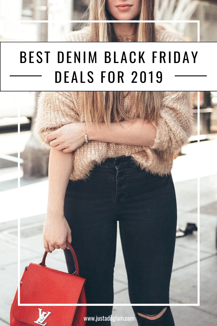 Best Denim Black Friday Deals For 2019 I Black Friday Sale I via justaddglam.com | BEST DENIM BLACK FRIDAY DEALS FOR 2019 by popular San Francisco life and style blog Just Add Glam: image of a woman outside wearing a pair of black denim jeans.
