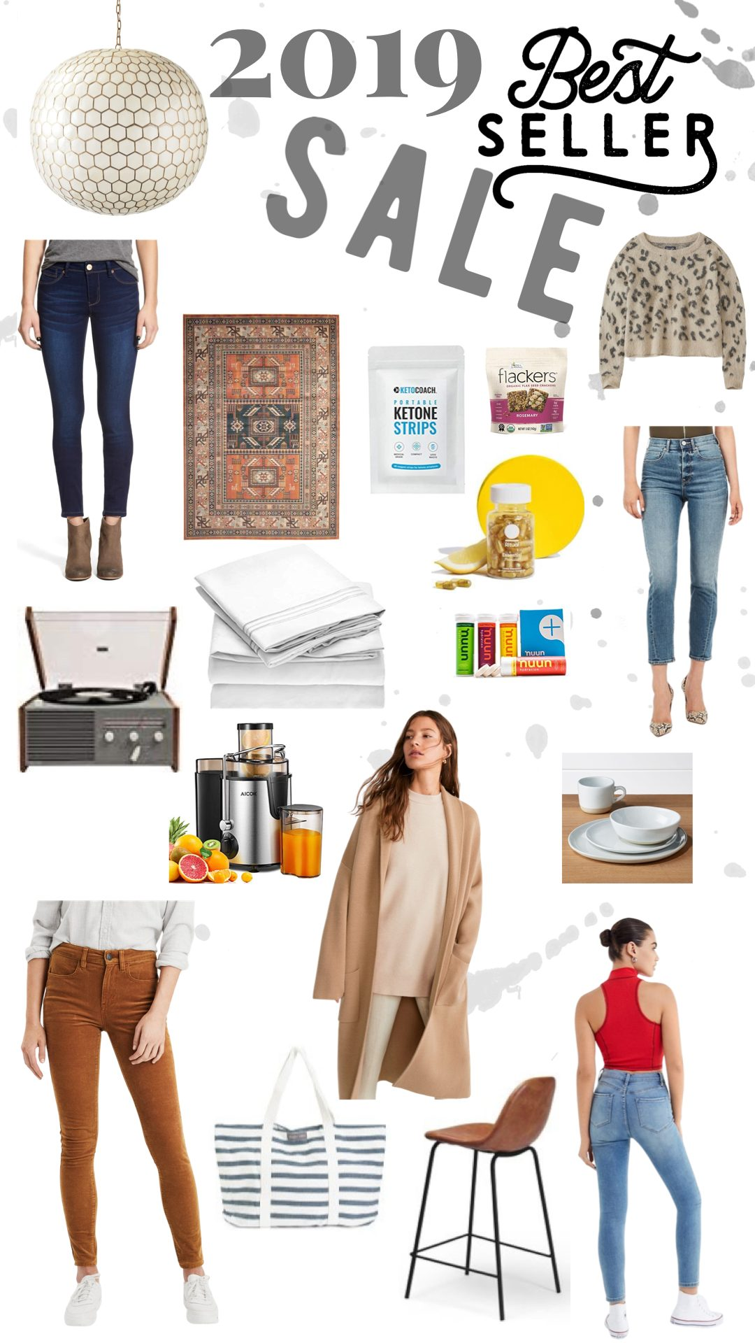 2019 BEST SELLER PRODUCTS by popular San Francisco life and style blog, Just Add Glam: collage image of Levi's Mile High Super Skinny Jeans, bed sheet set, AICOK CENTRIFUGAL JUICER, brushed leopard sweater, record player, 4 piece dish set, honeycomb pendant light, area rug, Lafayette barstool, Ritual vitamins, 1822 Denim butter skinny jeans, high waisted corduroy jegging, Ketone testing strips, Nuun hydration tablets, and Flackers flax seed crackers.