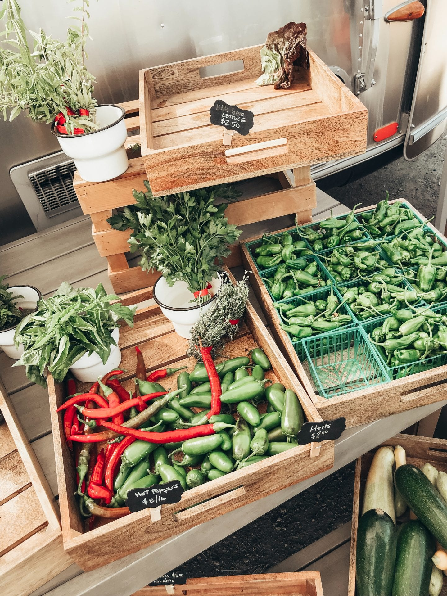HOW TO STOP WASTING FOOD AND GROCERIES AND SAVE MONEY by popular San Francisco lifestyle blog, Just Add Glam: image of various peppers, herbs, and squashes in wooden crates.