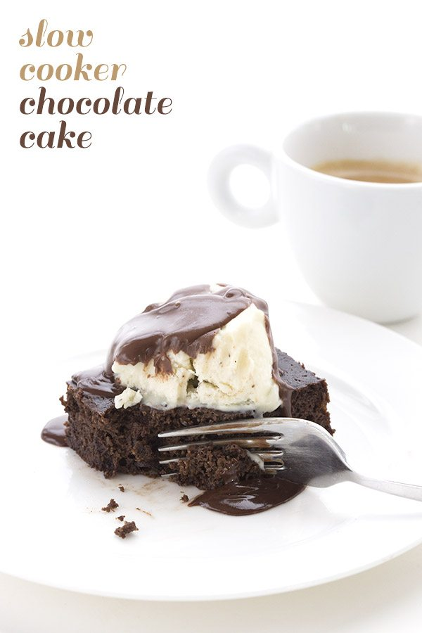 Slow-Cooker-Chocolate-Cake-Just-add-glam | HEALTHY KETO CROCKPOT RECIPES TO EASE YOU INTO THE NEW YEAR by popular San Francisco life and style blog, Just Add Glam: image of low carb slow cooker chocolate cake.