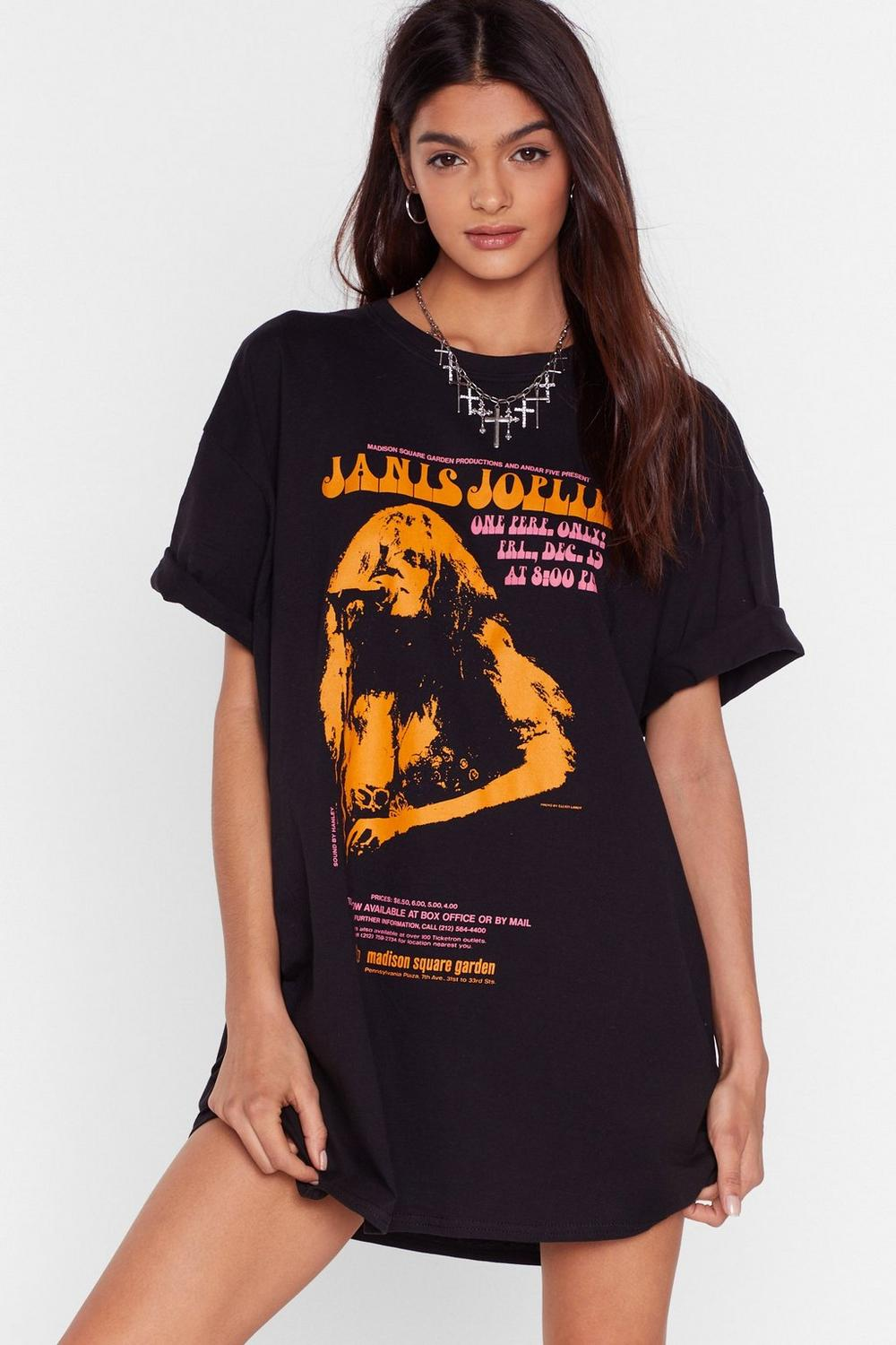 black-janis-joplin-graphic-band-tee-dress-just-add-glam | 30 BEST VINTAGE BAND TEES by popular San Francisco life and style blog, Just Add Glam: image of a vintage Janis Joplin tee.