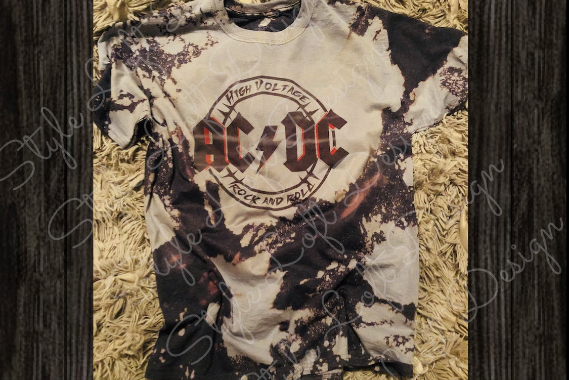 Just Add Glam ACDC Bleached Tee | 30 BEST VINTAGE BAND TEES by popular San Francisco life and style blog, Just Add Glam: image of a vintage AC/DC tee.