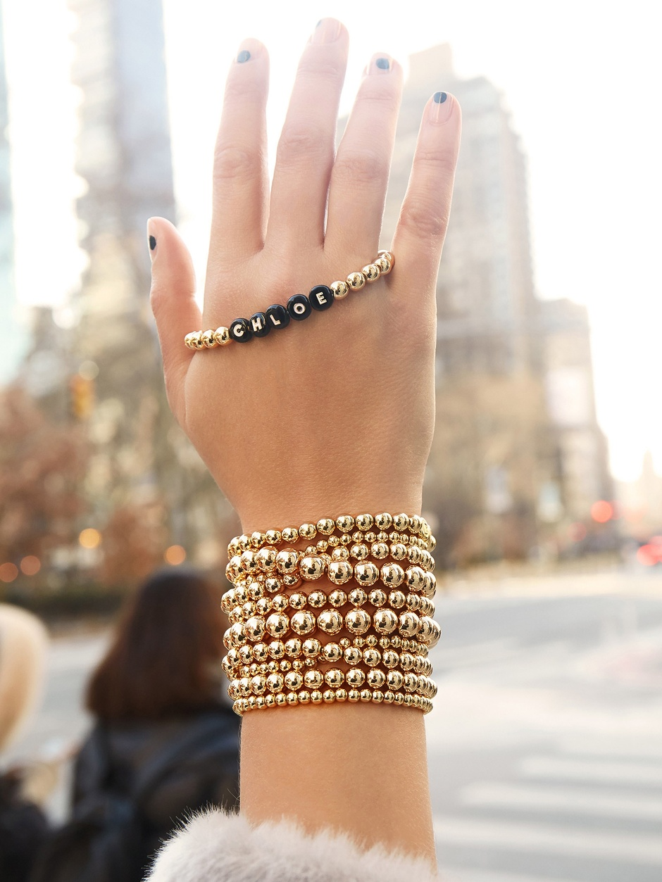 Initial Jewelry by popular San Francisco fashion blog, Just Add Glam: image of a custom beaded bracelet.