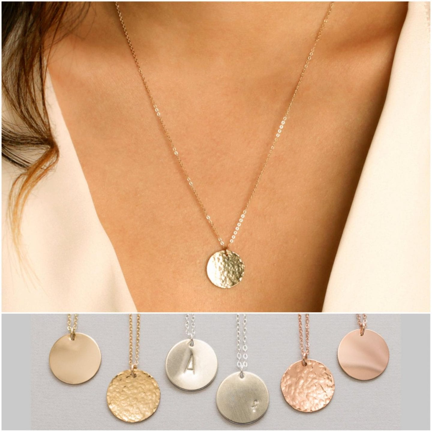 Initial Jewelry by popular San Francisco fashion blog, Just Add Glam: image of a large coin necklace monogram.