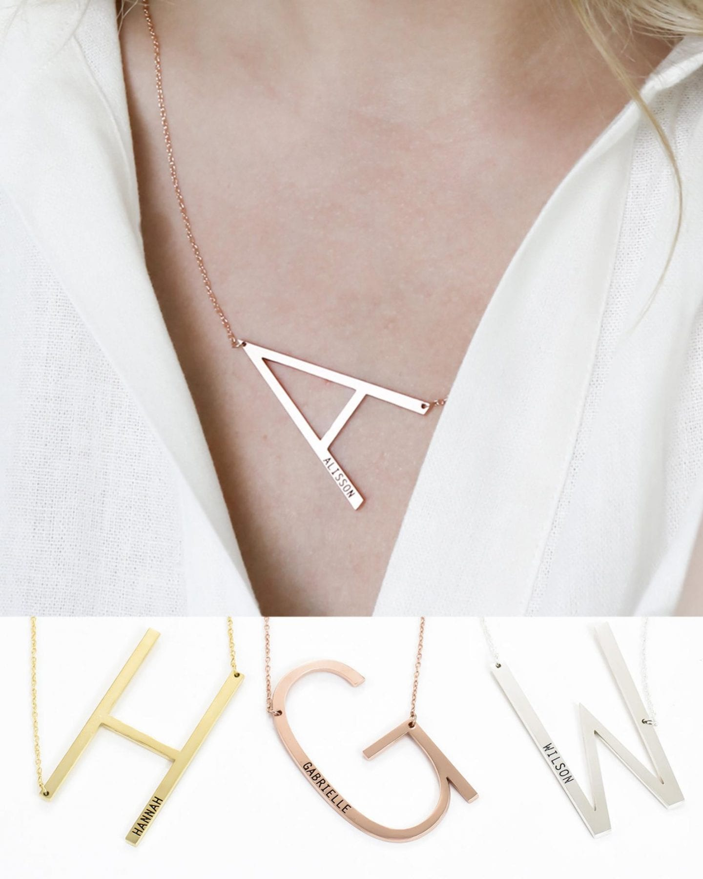 Initial Jewelry by popular San Francisco fashion blog, Just Add Glam: image of a sideways initial necklace.