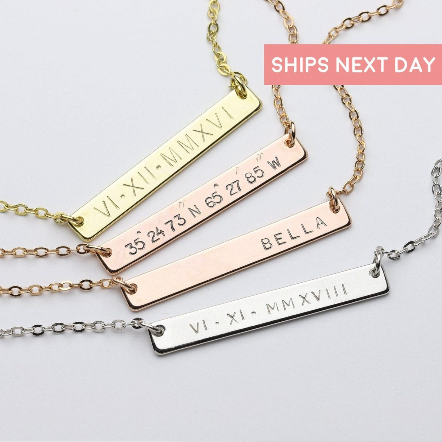 Initial Jewelry by popular San Francisco fashion blog, Just Add Glam: image of a personalized bar necklace.