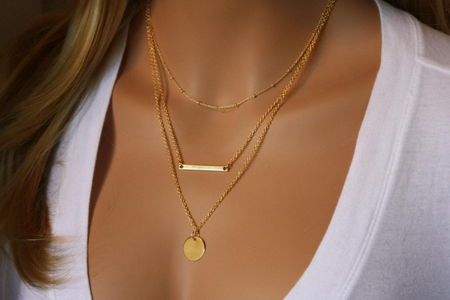Initial Jewelry by popular San Francisco fashion blog, Just Add Glam: image of a initial monogram bar set of 3 necklaces.