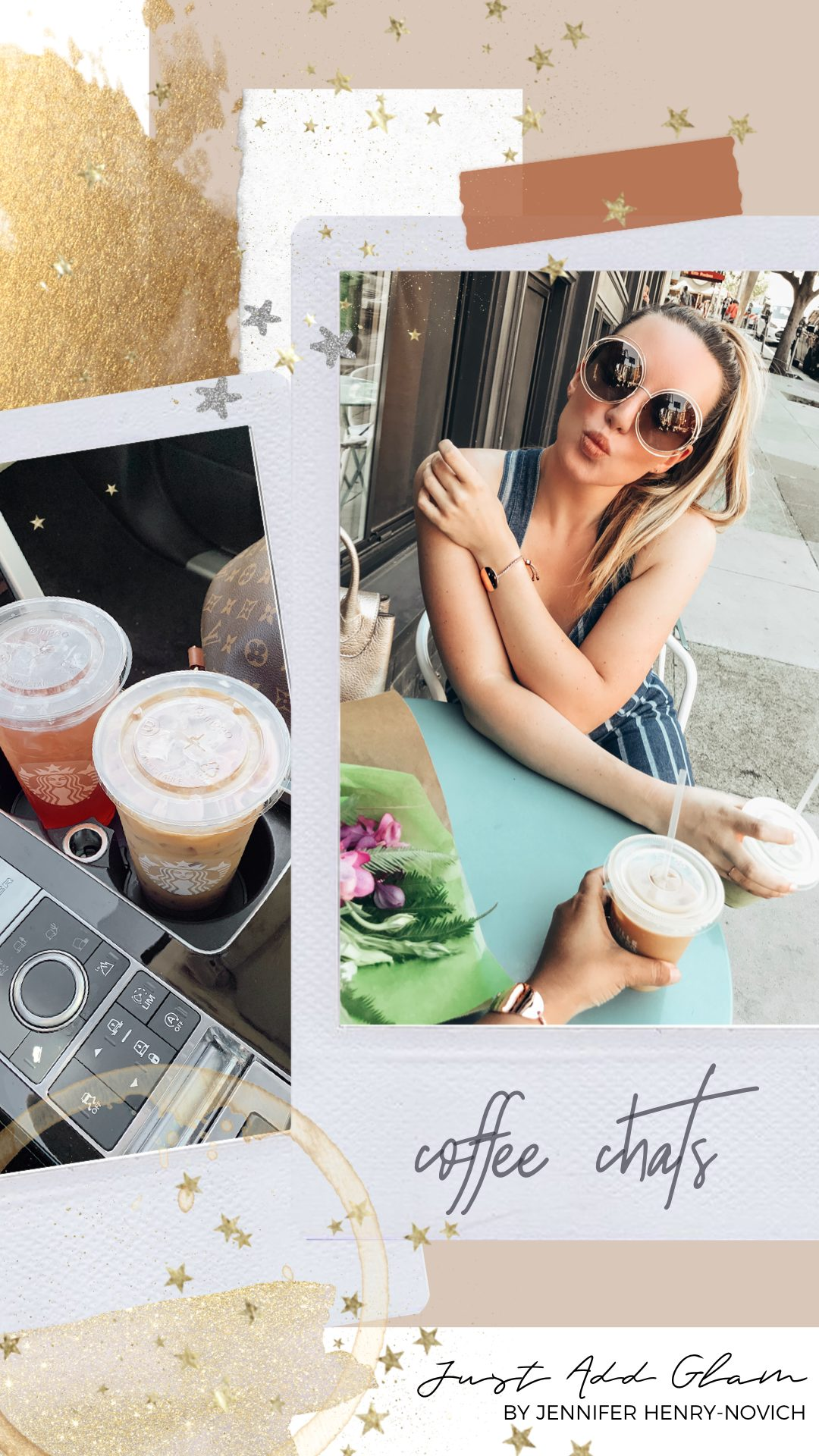 Personal Questions by popular San Francisco lifestyle blog, Just Add Glam: image of some polaroid pictures of a woman sitting down and drinking coffee. | Q&A Session by popular San Francisco lifestyle blog, Just Add Glam: image of two polaroid images of a woman drinking ice coffees.