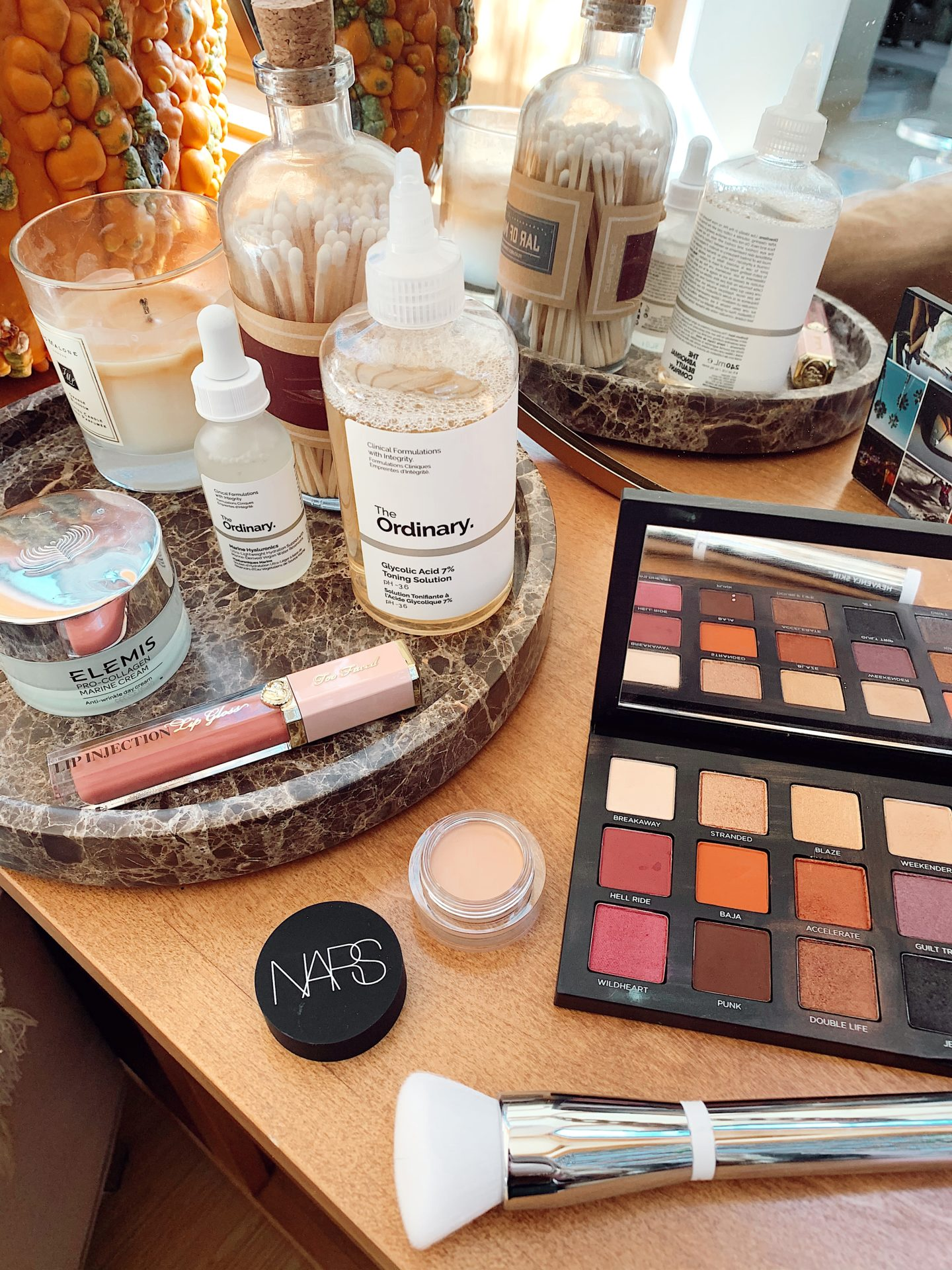 walmart fall beauty deals |Fall Beauty by popular San Francisco beauty blog, Just Add Glam: image of Urban Decay makeup pallet, Nars makeup, and Too Faced lip injection lip gloss.