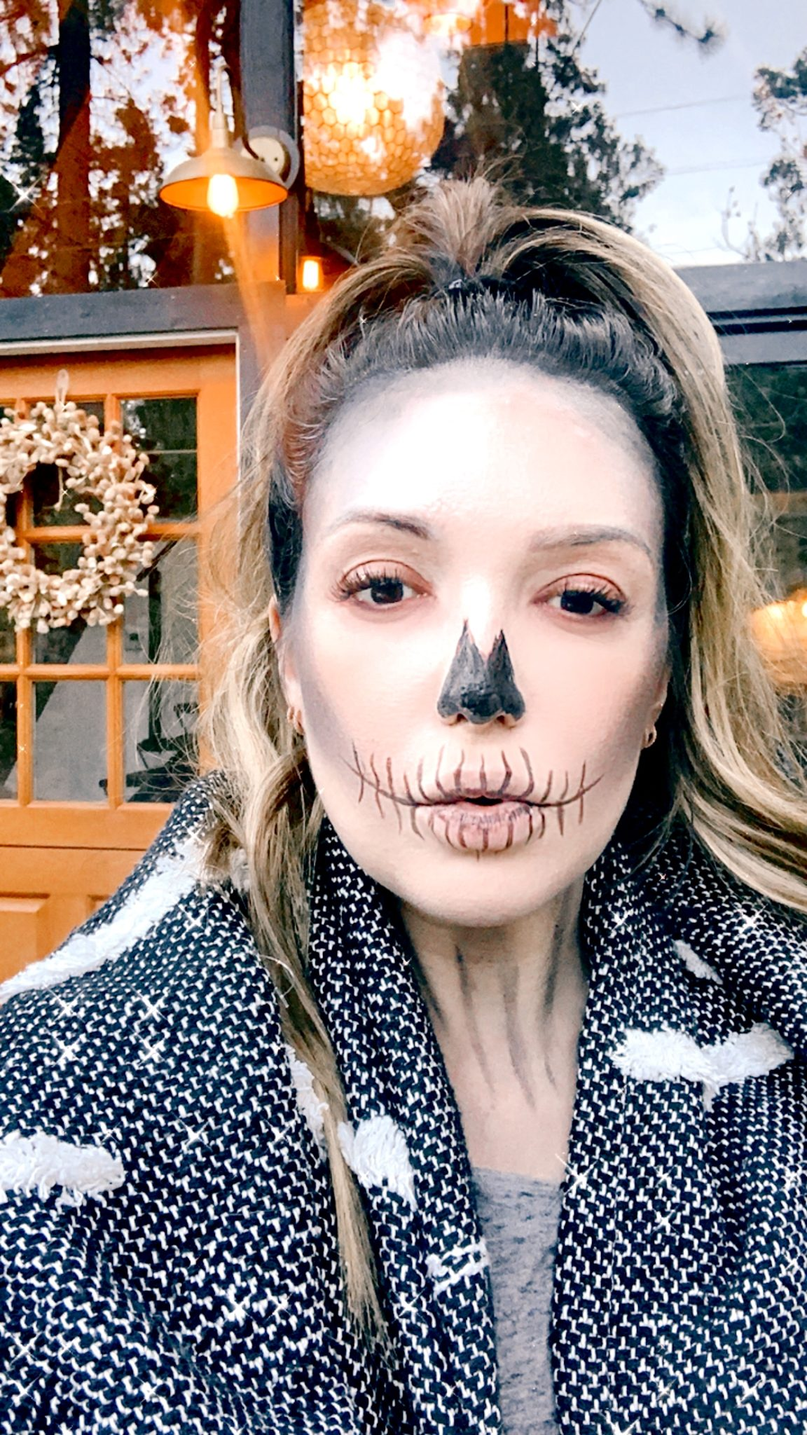 soft neutrals skeleton makeup |Skeleton Makeup Tutorial by popular San Francisco beauty blog, Just Add glam: image of a woman wearing skeleton makeup.