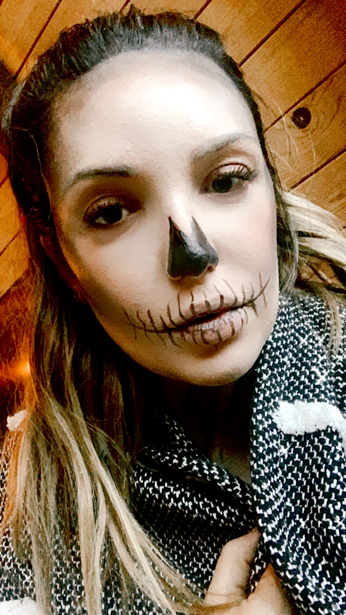 soft neutrals skeleton makeup | Skeleton Makeup Tutorial by popular San Francisco beauty blog, Just Add glam: image of a woman wearing skeleton makeup.
