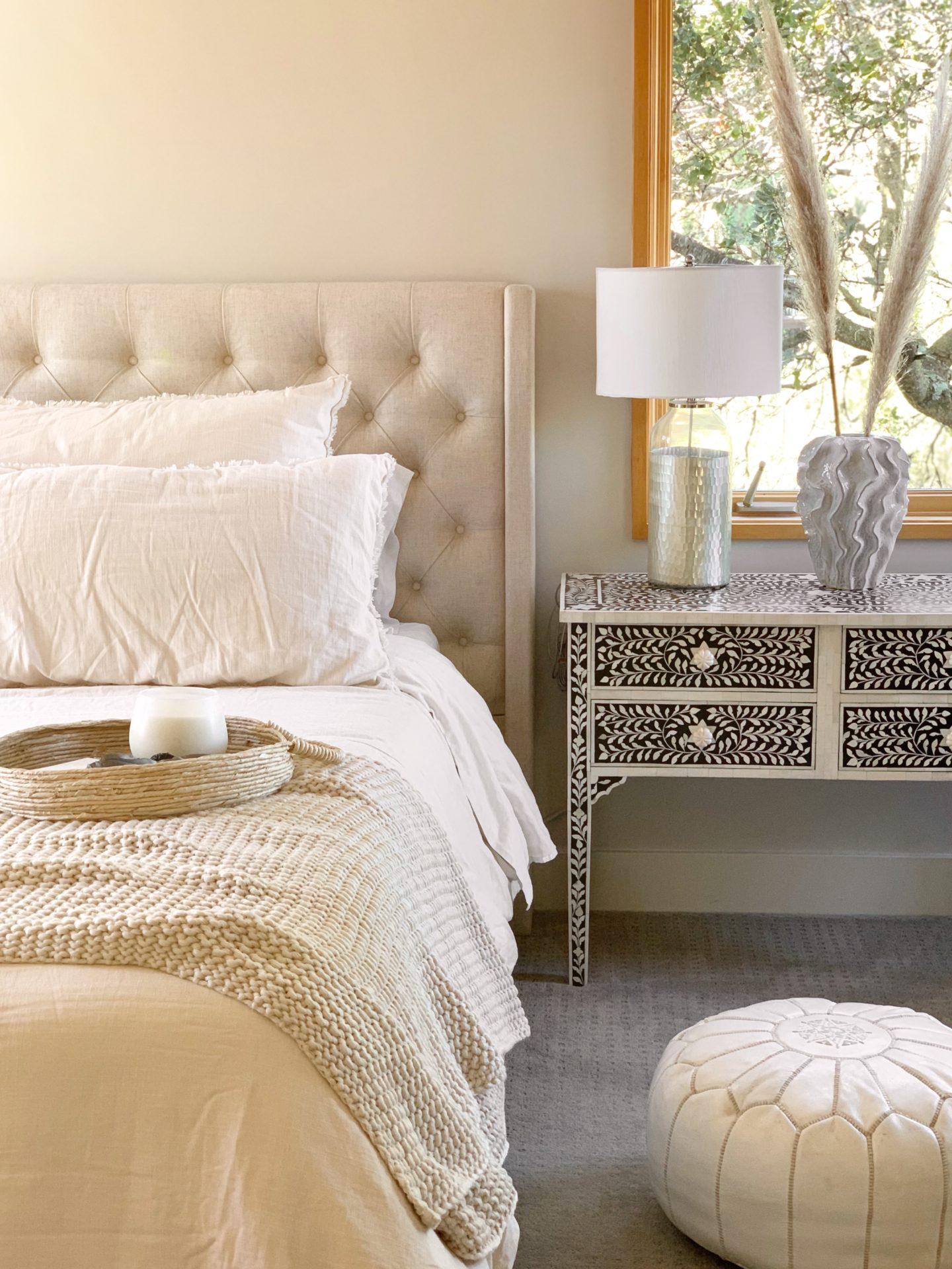 casaluna bedding | Casaluna Bedding by popular San Francisco life and style blog, Just Add Glam: image of a bed with neutral color Casaluna bedding on it.