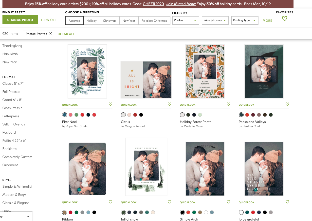 Minted Christmas Cards by popular San Francisco lifestyle blog, Just Add Glam: screen shot image of minted Christmas card designs.