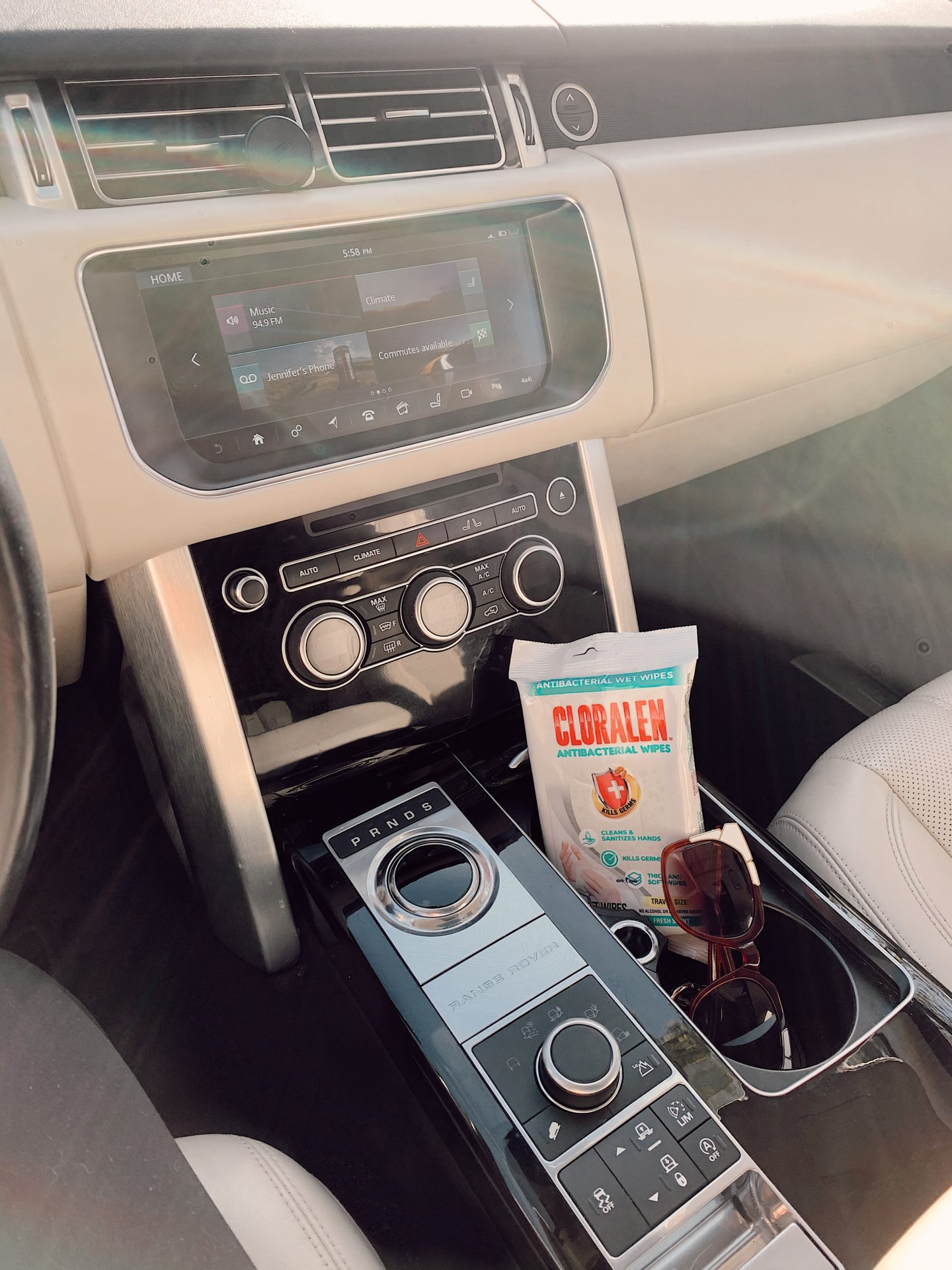 CLORALEN wipes | Spring Cleaning Hacks by popular San Francisco lifestyle blog, Just Add Glam: image of Cloralen wipes in a car.