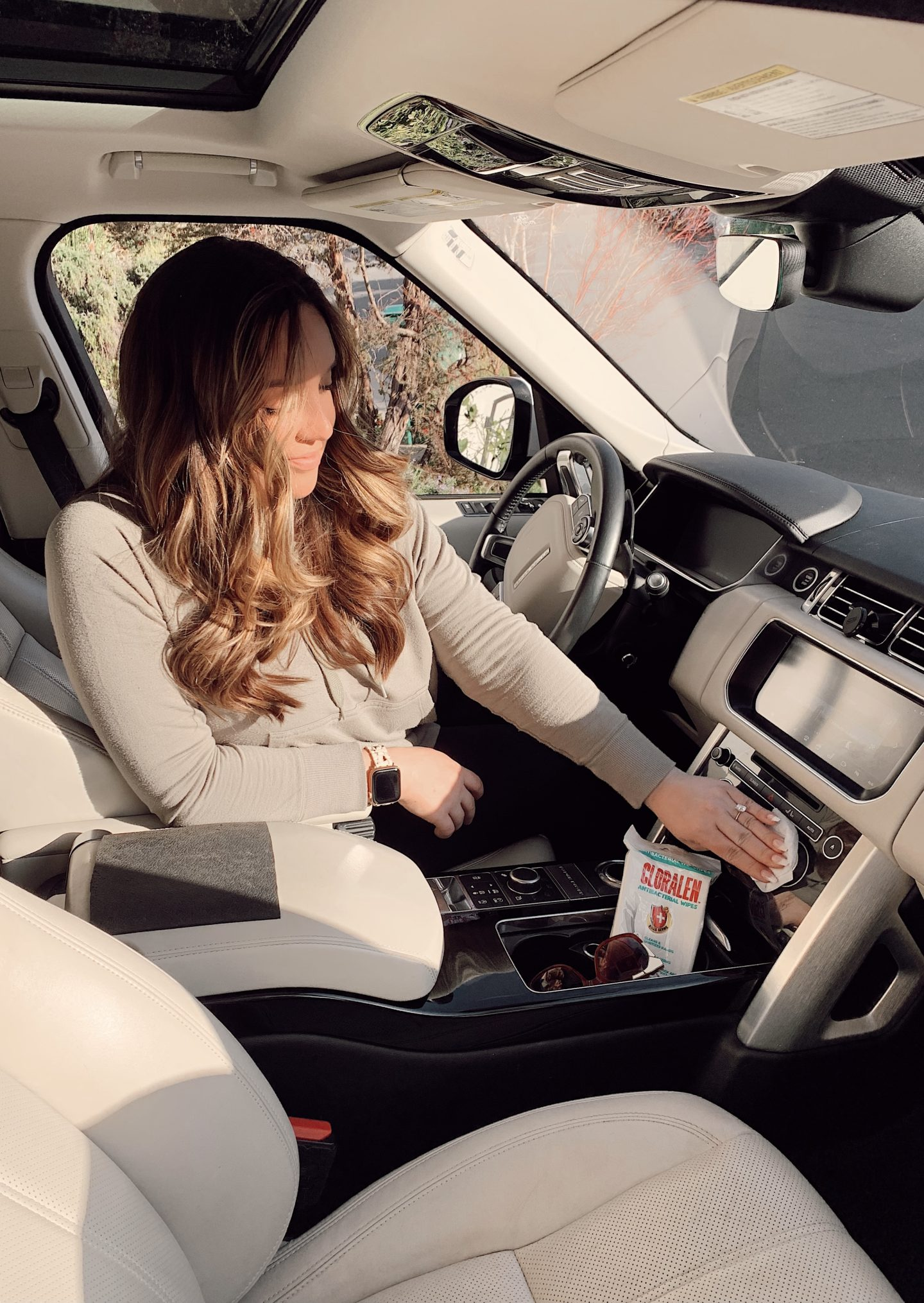 CLORALEN wipes |Spring Cleaning Hacks by popular San Francisco lifestyle blog, Just Add Glam: image of a woman using Cloralen wipes in her car.